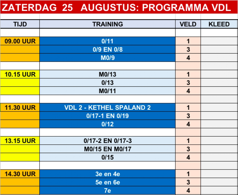 PROGRAMMA OPEN DAG EN TRAININGS CLINICS VDL